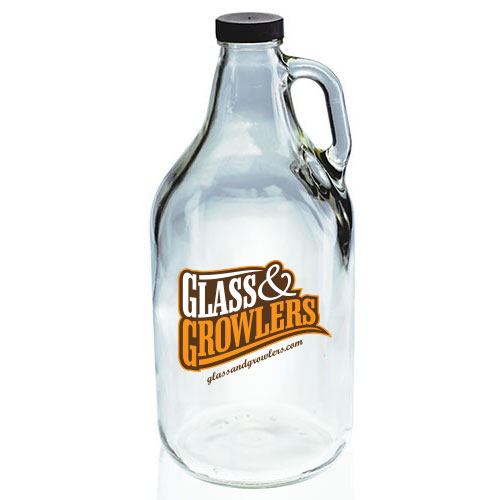 Clear Glass And Growler 64 OZ Jug with screw cap