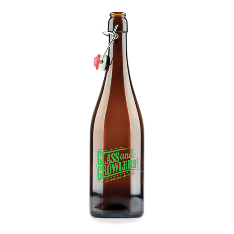 750ml Burgundy Amber Bottle w/ Swing Top