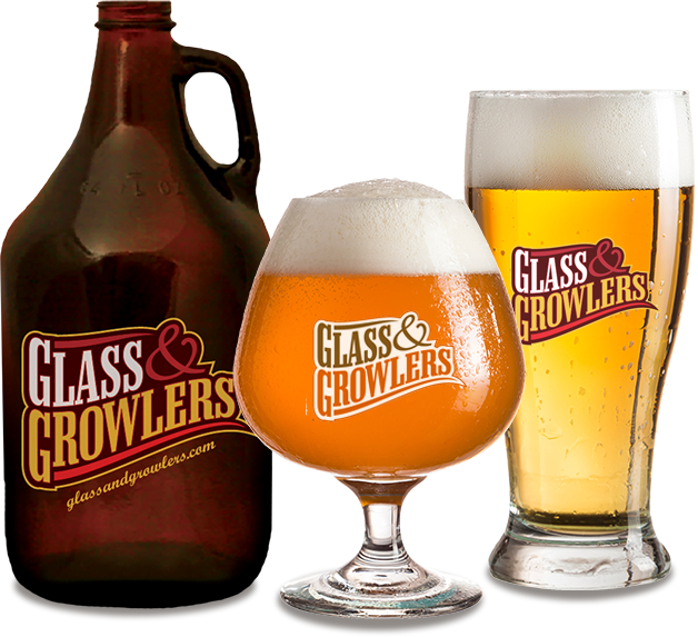 Growler, Short Stem and Tall Beer Glass