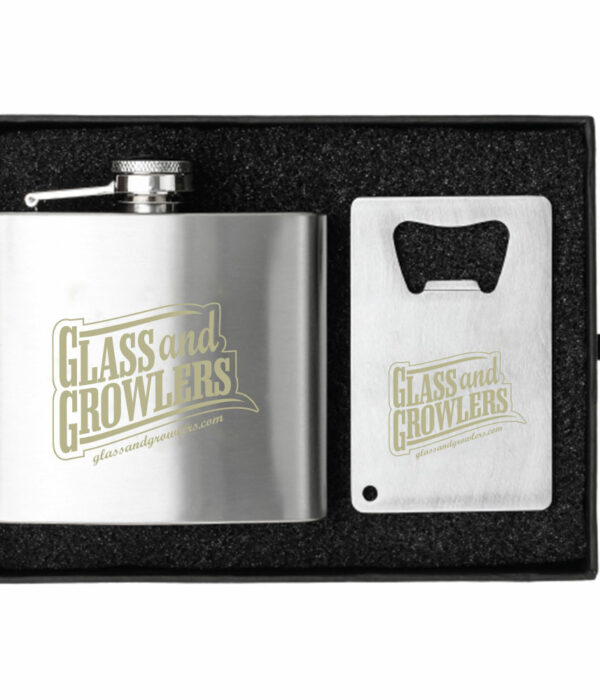 CRAFTER 5 OZ. FLASK AND BOTTLE OPENER GIFT SET